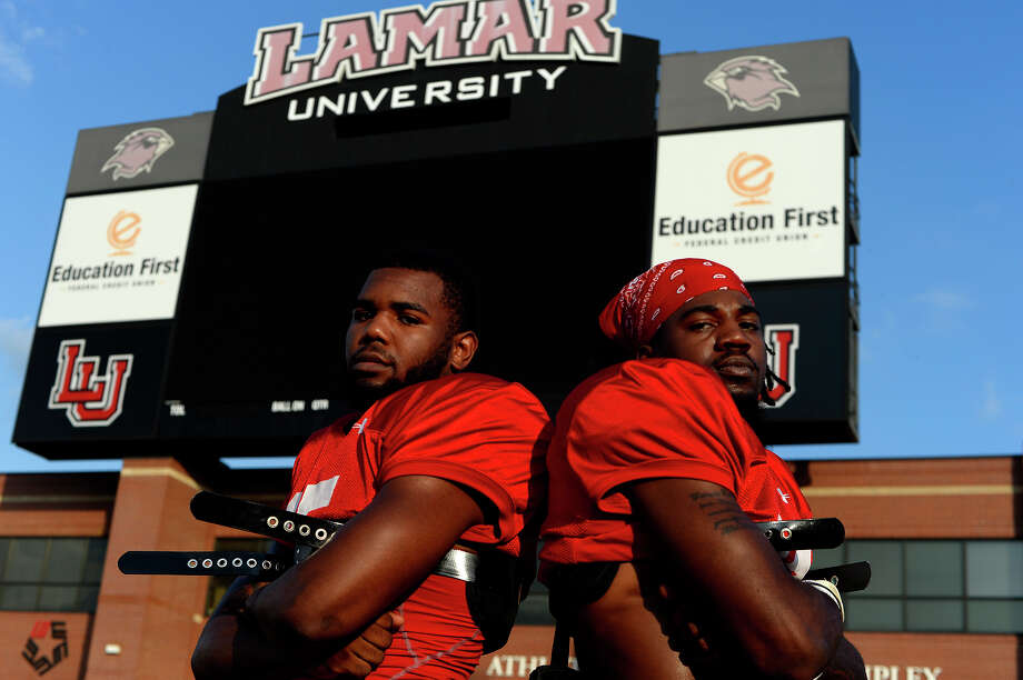 Cameron Hampton, left, and Jalen Barnes are hoping to contribute to the Lamar's defense this fall after transferring from larger Big 12 programs. Hampton transferred from Texas, and Barnes played at Texas Tech.  Photo taken Monday 8/8/16 Ryan Pelham/The Enterprise Photo: Ryan Pelham / ©2016 The Beaumont Enterprise/Ryan Pelham