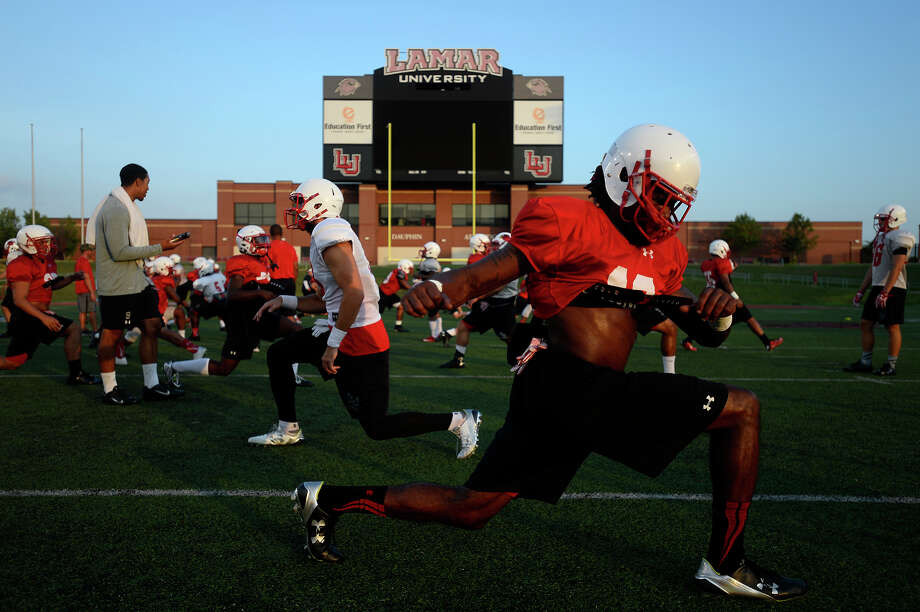 Lamar defensive back Jalen Barnes stretches during practice on Monday evening. Barnes transferred from Texas Tech.  Photo taken Monday 8/8/16 Ryan Pelham/The Enterprise Photo: Ryan Pelham / ©2016 The Beaumont Enterprise/Ryan Pelham