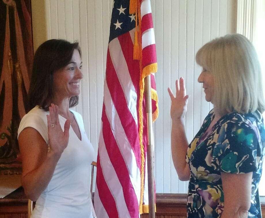 Nancy Hawley being sworn in as a Bridgewater selectman by town clerk Cheryl Pinkos on Aug. 9. Photo: Contributed Photo