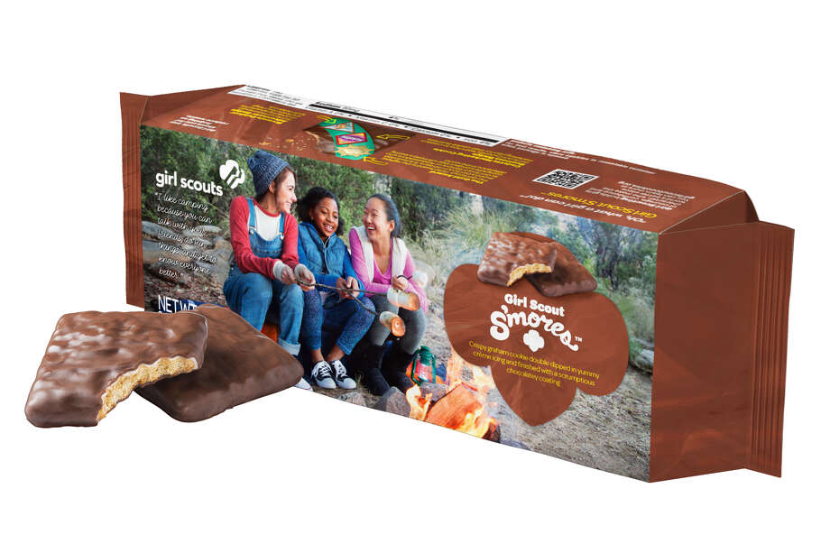 Local area Girl Scout will offer a s'mores-inspired crispy graham cookie double-dipped in a crème icing and enrobed in a chocolatey coating during the 2017 Cookie Program, which begins in January. This clever take on the time-honored campfire treat was developed in response to popular consumer trends. Photo: Girl Scouts Of San Jacinto Council