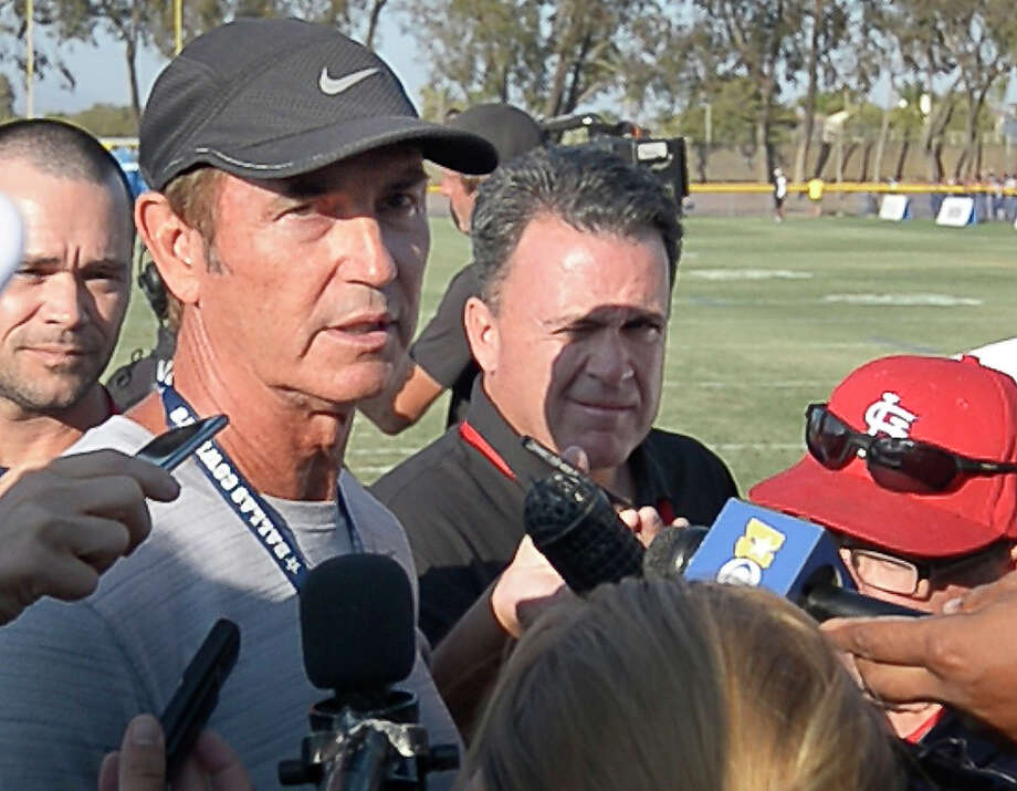 Former Baylor football coach Art Briles talks with the media after attending the Dallas Cowboys' afternoon practice during training camp in Oxnard, Calif., on Tuesday, Aug. 9, 2016. Photo: Max Faulkner, TNS / Fort Worth Star-Telegram