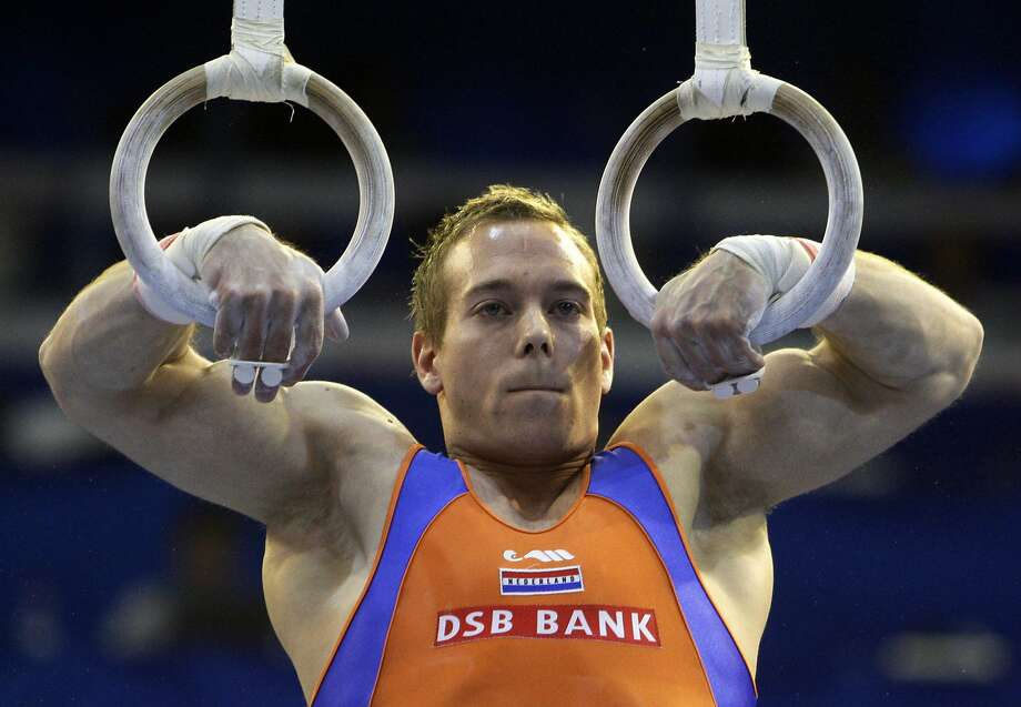 Yuri van Gelder of the Netherlands performs on the rings during the final at the European Men's Artistic Gymnastics Championships. Photo: Anja Niedringhaus, AP