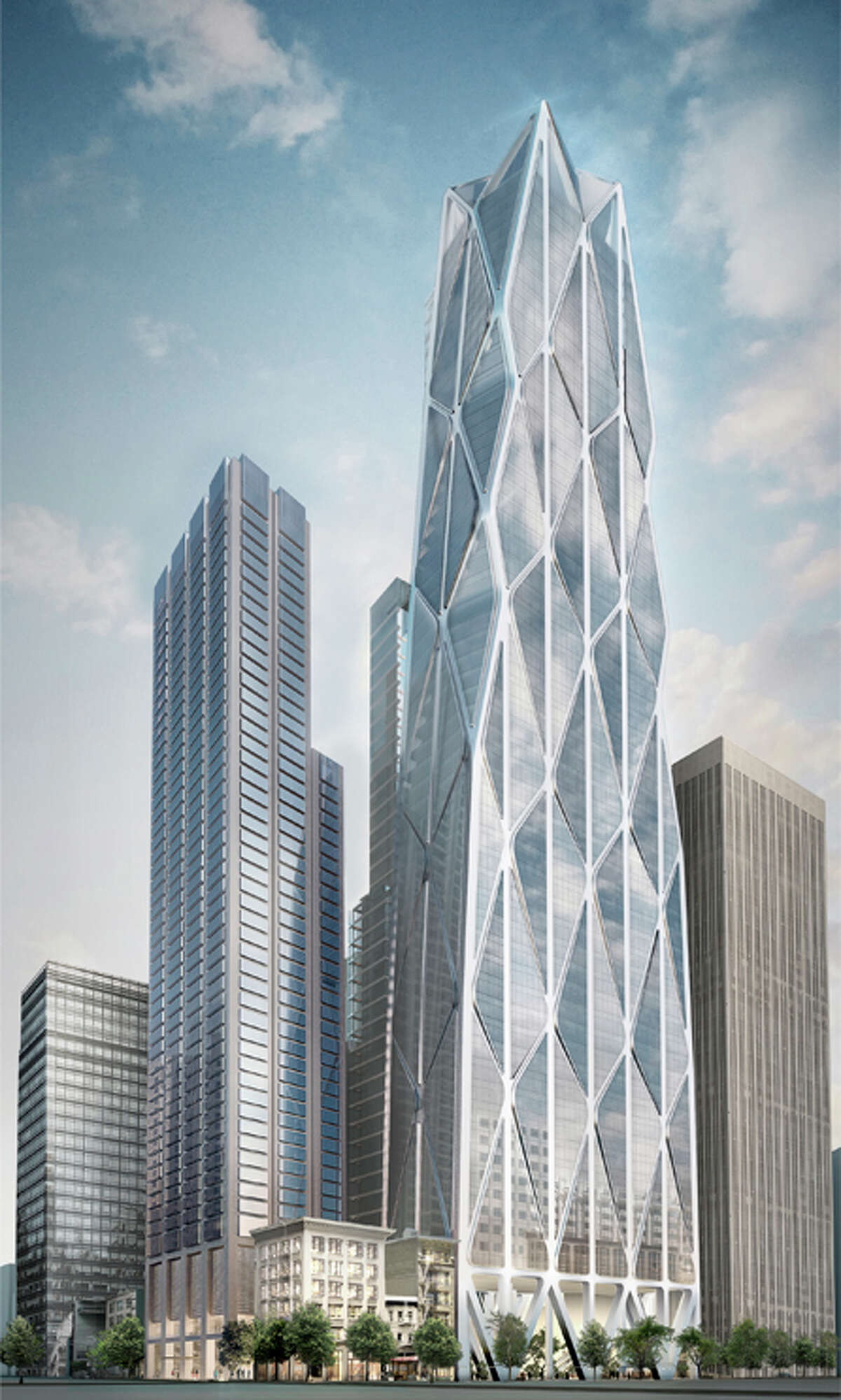 Proposed renderings of the Waldorf Astoria San Francisco luxury hotel, which will be built within a new building complex near the Transbay Transit Center.