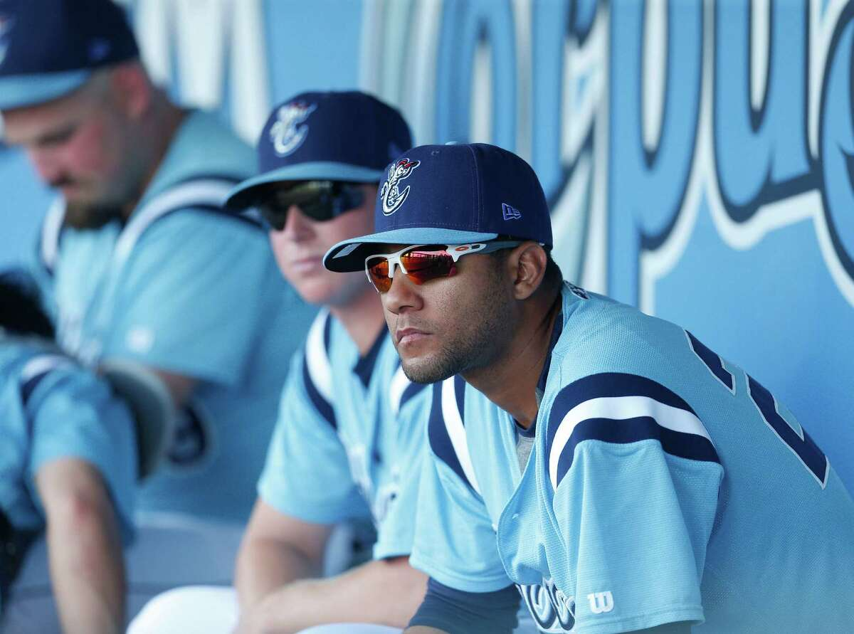 Astros prospect Yulieski Gurriel, the recently signed Cuban infielder, in the dugout before the start of a game at Whataburger Field home of the AA Corpus Christi Hooks, Tuesday, Aug. 9, 2016, in Corpus Christi ( Karen Warren / Houston Chronicle )