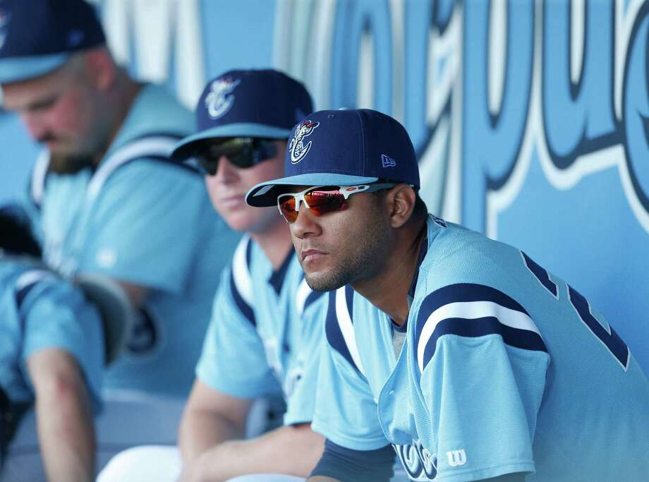 Astros prospect Yulieski Gurriel, the recently signed Cuban infielder, in the dugout before the start of a game at Whataburger Field home of the AA Corpus Christi Hooks, Tuesday, Aug. 9, 2016, in Corpus Christi  ( Karen Warren  / Houston Chronicle ) Photo: Karen Warren, Staff / © 2016 Houston Chronicle