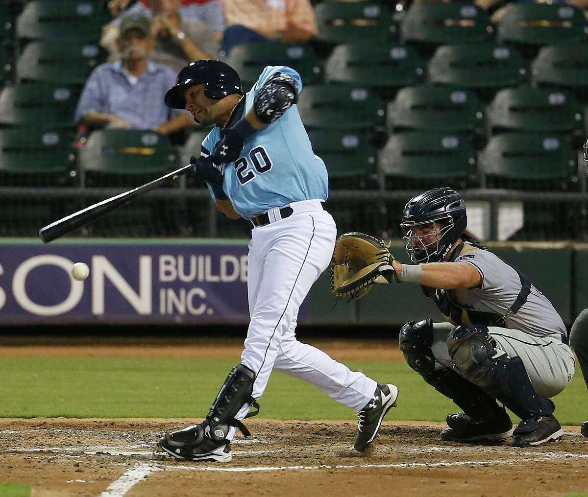 Astros prospect Yulieski Gurriel, the recently signed Cuban infielder, at bat in the sixth inning at Whataburger Field home of the AA Corpus Christi Hooks, Tuesday, Aug. 9, 2016, in Corpus Christi ( Karen Warren / Houston Chronicle )