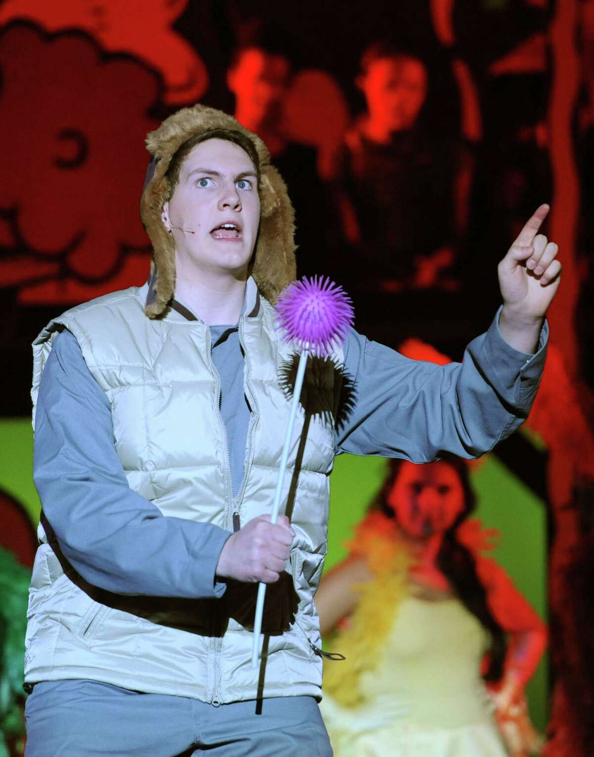 """Kyle Watkins, playing Horton the elephant, acts out a scene during the dress rehearsal of the 1214 Foundation's """"Seussical"""" at Newtown High School on Aug. 7, 2013. (File photo)"""