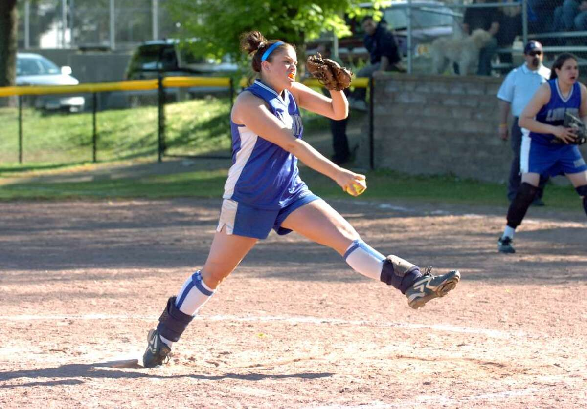 Fairfield's Becky Foster pitches as Stamford High hosts Fairfield Ludlowe in a girls softball game Thursday afternoon, April 29, 2010. Fairfield won 2-1.