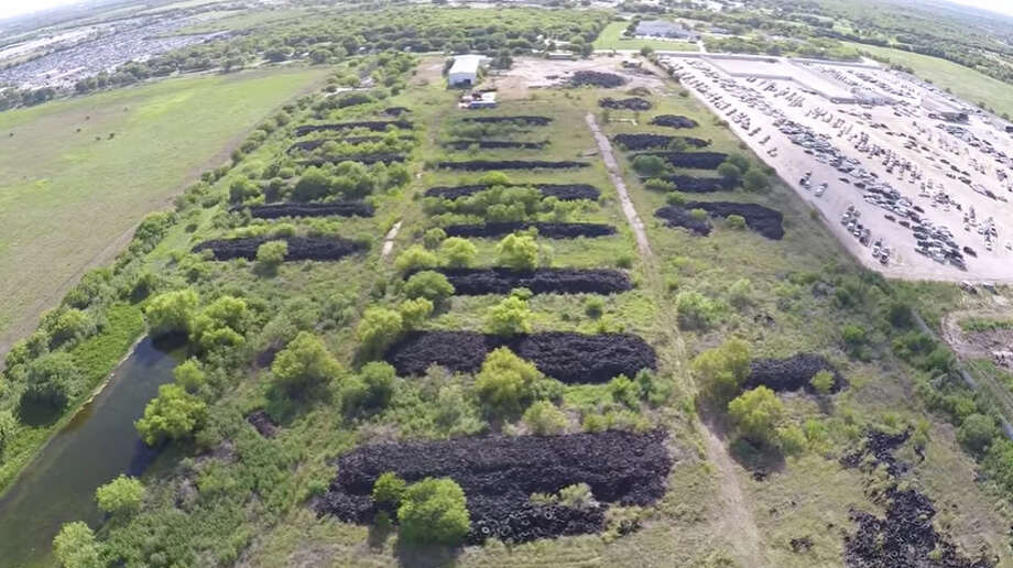 A video posted to YouTube on August 8, 2016 by Marcus Wennrich shows a rare aerial look at a massive tire dump site on San Antonio's South Side.Watch the full video here. Photo: YouTube/Marcus Wennrich