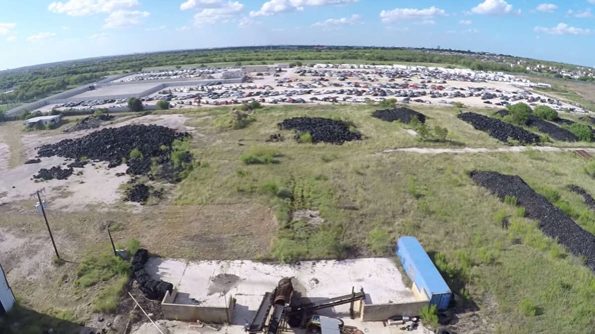 A video posted to YouTube on August 8, 2016 by Marcus Wennrich shows a rare aerial look at a massive tire dump site on San Antonio's South Side.