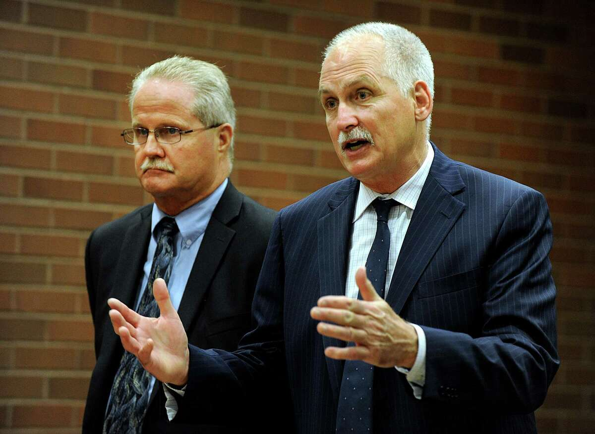 Art Colley, left, represented by Attorney Eugene Riccio, appears at state Superior Court in Danbury, Wednesday, August 10, 2016.