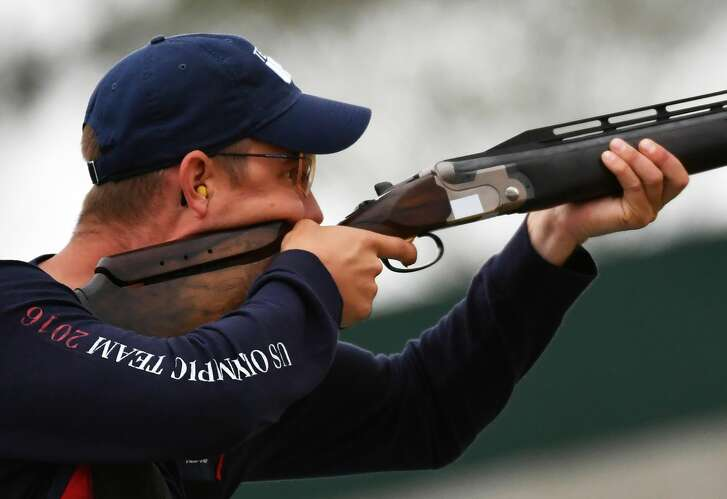 US Glenn Eller competes during  the qualifications Double Trap Men's at the Olympic Shooting Centre in Rio de Janeiro on August 10, 2016, during the Rio 2016 Olympic Games. / AFP / PASCAL GUYOT        (Photo credit should read PASCAL GUYOT/AFP/Getty Images)