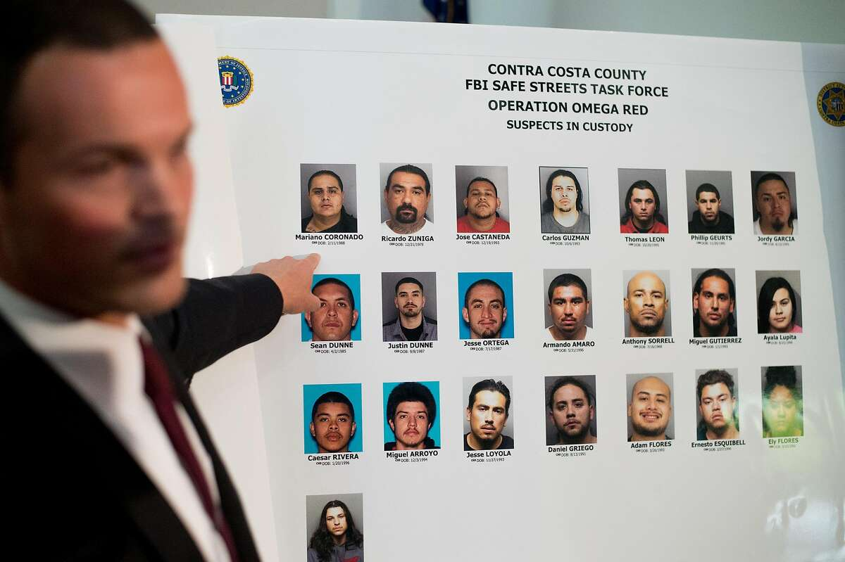 Aron DeFerrari, Contra Costa Deputy District Attorney, discusses Operation Omega Red, which officials say led to 24 arrests of alleged Norteno gang affiliates, on Wednesday, Aug. 10, 2016, in Martinez, Calif.