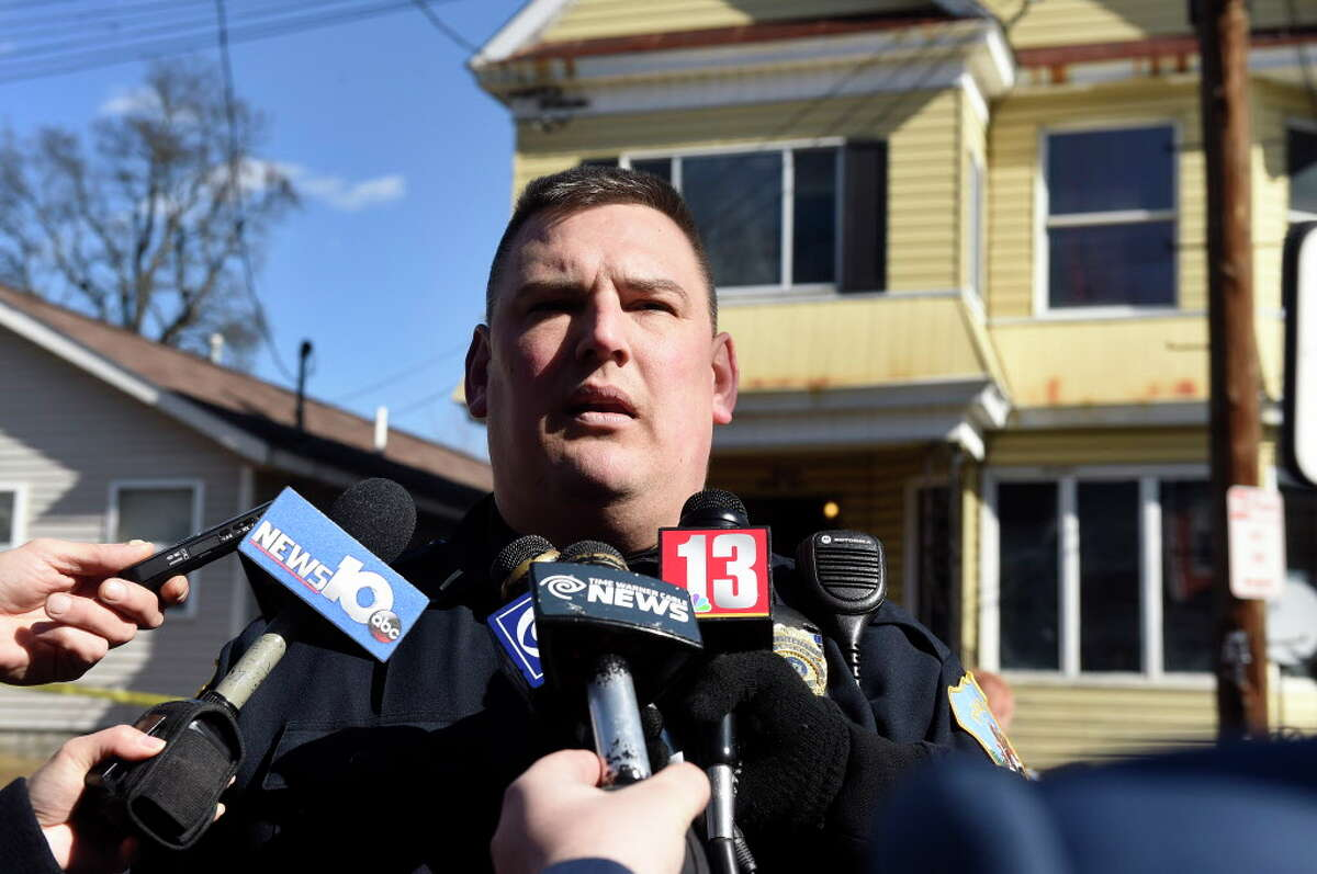 Schenectady Police Lt. Mark McCracken informs the media about a shooting and lockdown at 1349 Crane St. on Saturday, Feb. 20, 2016, in Schenectady, N.Y. (Cindy Schultz / Times Union)