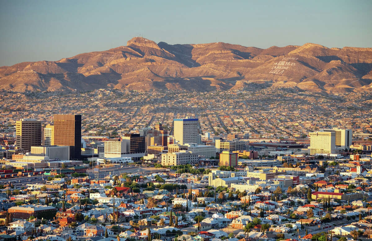 Downtown El Paso, Texas, with Juarez, Mexico in the background.