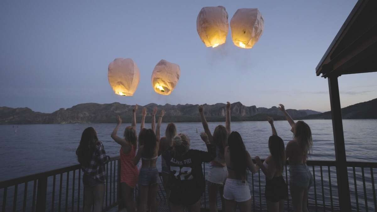 A scene from the Arizona State University chapter of Alpha Phi sorority's 2016 recruitment video, which cost an estimated $200,000.