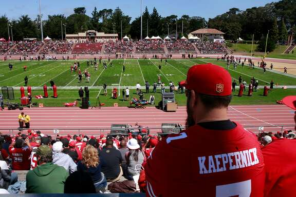 Fans watch the action below as the San Francisco 49ers hold a practice open to the public, at Kezar Stadium in San Francisco , California, on Wed. Aug. 10, 2016.