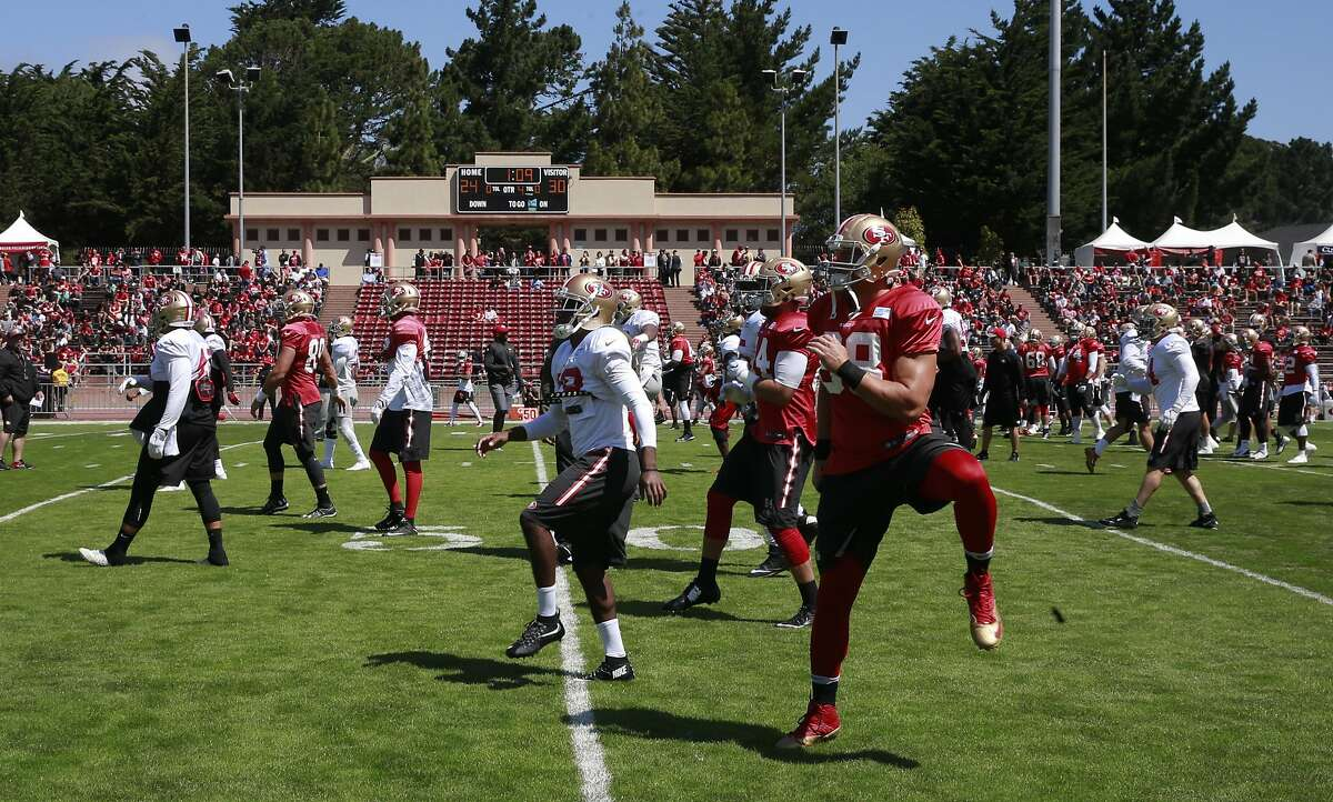 Work outs begin as the San Francisco 49ers hold a practice open to the public, at Kezar Stadium in San Francisco , California, on Wed. Aug. 10, 2016.
