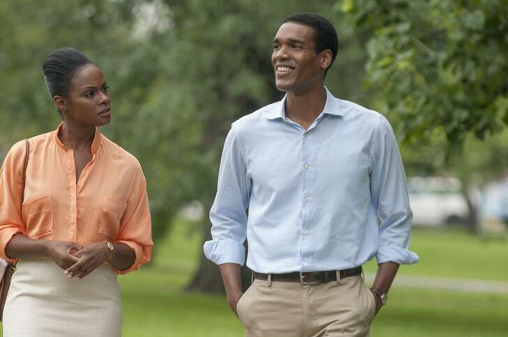 """Tika Sumpter and Parker Sawyers play Michelle and Barack Obama in """"Southside with You,"""" directed by Richard TanneCredit:Pat Scola, Courtesy of Tika Sumpter and Parker Sawyers play Michelle and Barack Obama in """"Southside with You,"""" directed by Richard TanneCredit:Pat Scola, Courtesy of Miramax and Roadside Attractions"""