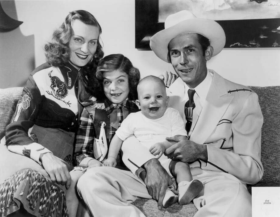 Hank Williams Jr. through the yearsThe Williams family in 1949, from left to right: Audrey Williams, Lycretia Williams, Hank Williams Jr. and  Hank Williams Sr. pose for a portrait in Nashville, Tennessee. (Photo by Michael Ochs Archives/Getty Images) Photo: Michael Ochs Archives