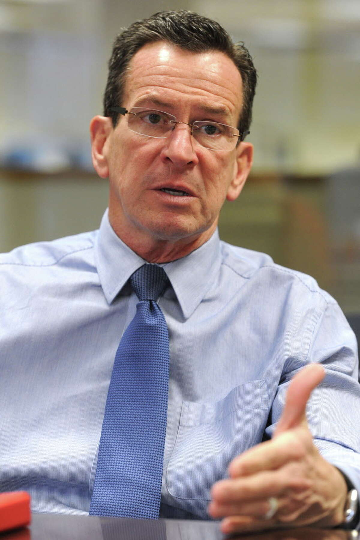 Governor Dannel P. Malloy speaks during an editorial board meeting with Hearst Connecticut Media in Bridgeport, Conn. Feb. 24, 2016.