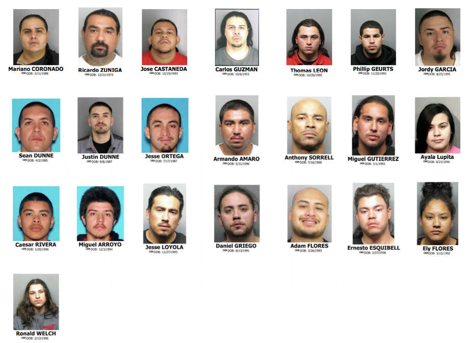 Police arrested these 22 people during house searches last week throughout Contra Costa County. Another two individuals associated with the Norteño gang were arrested on different charges, police said. Photo: FBI Handout