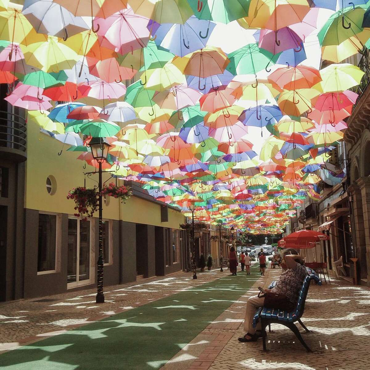 Umbrella Sky Project installation over a street of Agueda in Aveiro, Portugal. (Photo: Francisco Goncalves / Contributor)