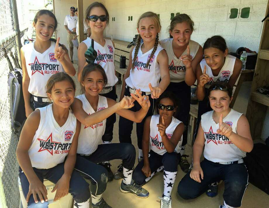 With just nine players, the Westport U10 softball team has reached the regional semifinals. Photo: Contributed Photo / Westport News Contributed