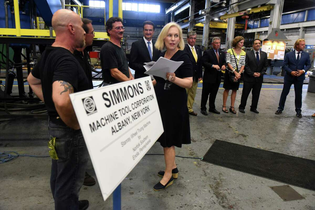 U.S. Senator Kirsten Gillibrand tours Simmons Machine Tool Corporation on Wednesday Aug. 10, 2016 in Menands, N.Y. (Michael P. Farrell/Times Union)