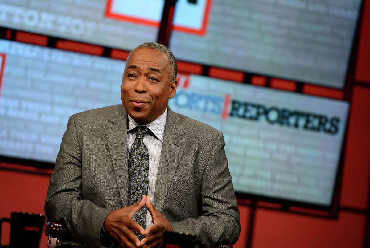 In this May 12, 2013 photo provided by ESPN Images. John Saunders poses on the set of