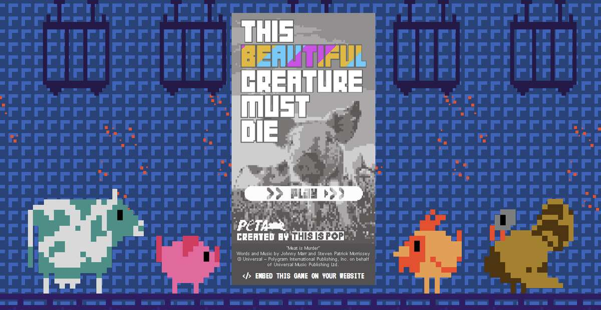 A screenshot of the video game start screen, which can be found on the PETA site.