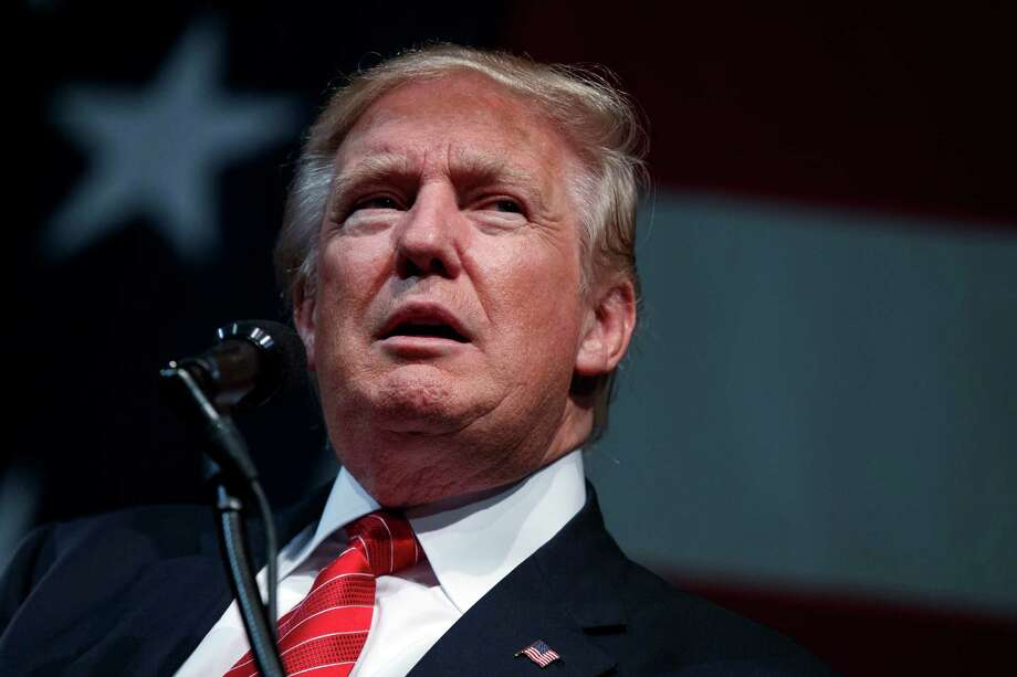 Republican presidential candidate Donald Trump speaks during a campaign rally at Crown Arena, Tuesday, Aug. 9, 2016, in Fayetteville, N.C. (AP Photo/Evan Vucci) ORG XMIT: NCEV223 Photo: Evan Vucci / Copyright 2016 The Associated Press. All rights reserved. This m