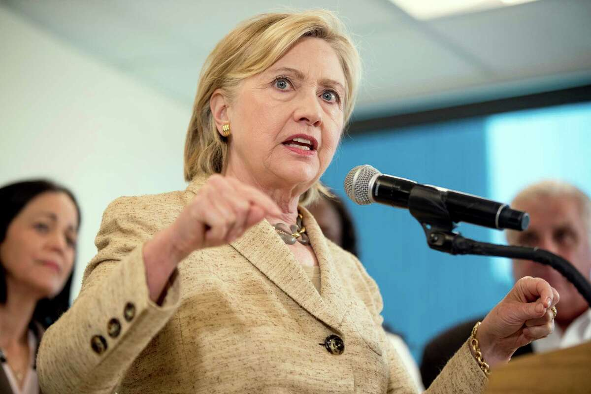 Democratic presidential candidate Hillary Clinton speaks to medical professionals after taking a tour of Borinquen Health Care Center, in Miami, Fla., Tuesday, Aug. 9, 2016, to see how they are combatting Zika. (AP Photo/Andrew Harnik) ORG XMIT: FLAH108