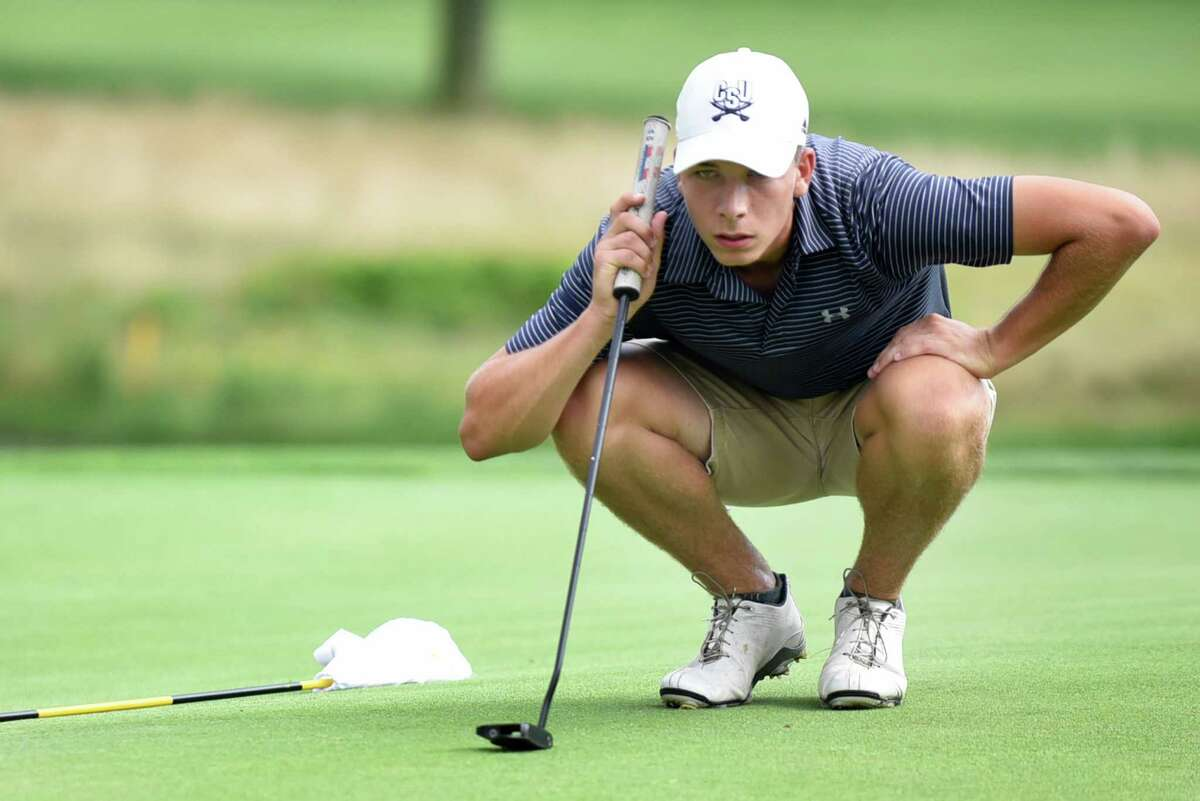 Arthur Griffin of Lake Placid Club sizes up his putt during the second round of the New York State Amateur on Wednesday, Aug. 10, 2016, at Mohawk Golf Club in Niskayuna, N.Y. (Cindy Schultz / Times Union)