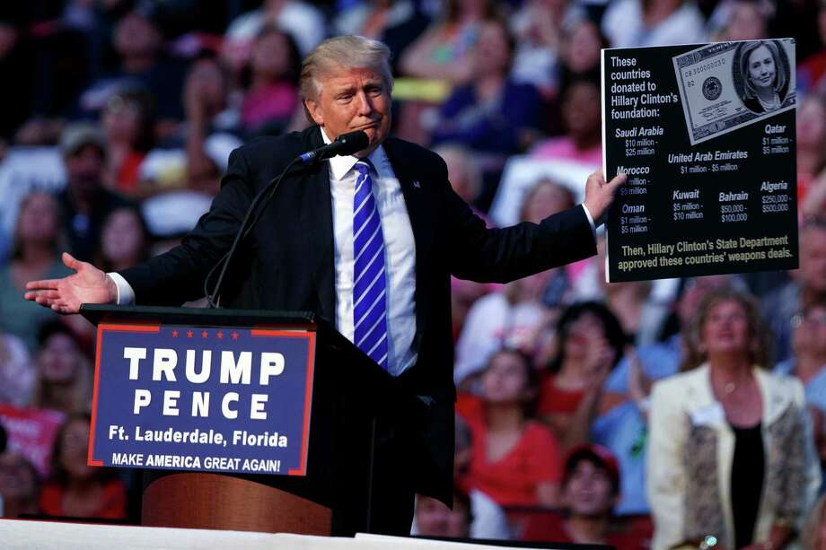 Republican presidential candidate Donald Trump holds a sign during a campaign rally at the BB&T Center, Wednesday, Aug. 10, 2016, in Sunrise, Fla. Photo: Evan Vucci, AP / Copyright 2016 The Associated Press. All rights reserved. This material may not be published, broadcast, rewritten or redistribu
