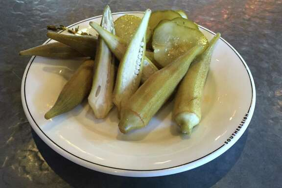 A mixture of house-pickled okra and cucumbers at Southerleigh Fine Food & Brewery.