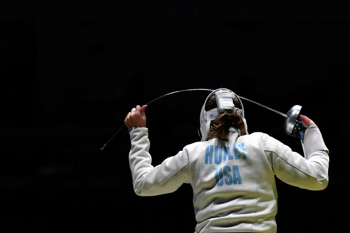 US Kelley Hurley reacts during the womens team epee quarter-final bout between US and Romania as part of the fencing event of the Rio 2016 Olympic Games, on August 11, 2016, at the Carioca Arena 3, in Rio de Janeiro. / AFP PHOTO / Fabrice COFFRINIFABRICE COFFRINI/AFP/Getty Images