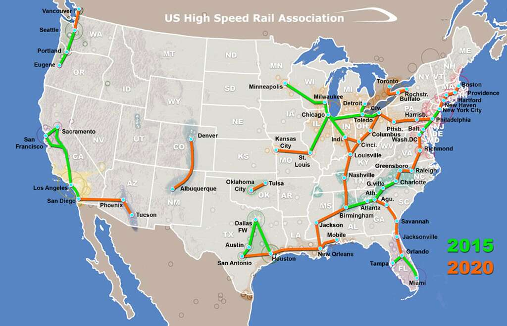 Maps Show Where Highspeed Trains Could Travel Beyond A Houston - New york to boston rail on map of us