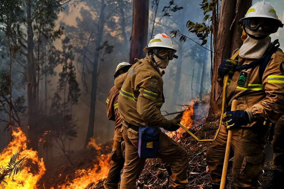 Firefighters battle a forest fire amid strong winds and high temperatures on the island of Madeira, where wildfires have already killed three people and destroyed more than 150 homes. Photo: PATRICIA DE MELO MOREIRA, AFP/Getty Images