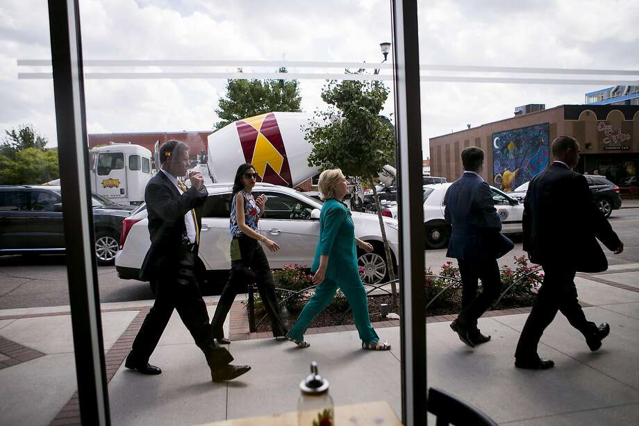Hillary Clinton, the Democratic presidential nominee, during a stop at the Scenic Route Bakery in Des Moines, Iowa, Aug. 10, 2016. While their economic platforms are markedly different, both candidates promise to create jobs but have said little about helping people while they are not working. (Sam Hodgson/The New York Times) Photo: SAM HODGSON, NYT