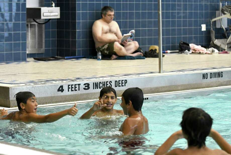 A light turn out of midday swimmers at the Myers Middle School pool on Thursday Aug. 11, 2016 in Albany, N.Y. (Michael P. Farrell/Times Union) Photo: Michael P. Farrell / 20037630A
