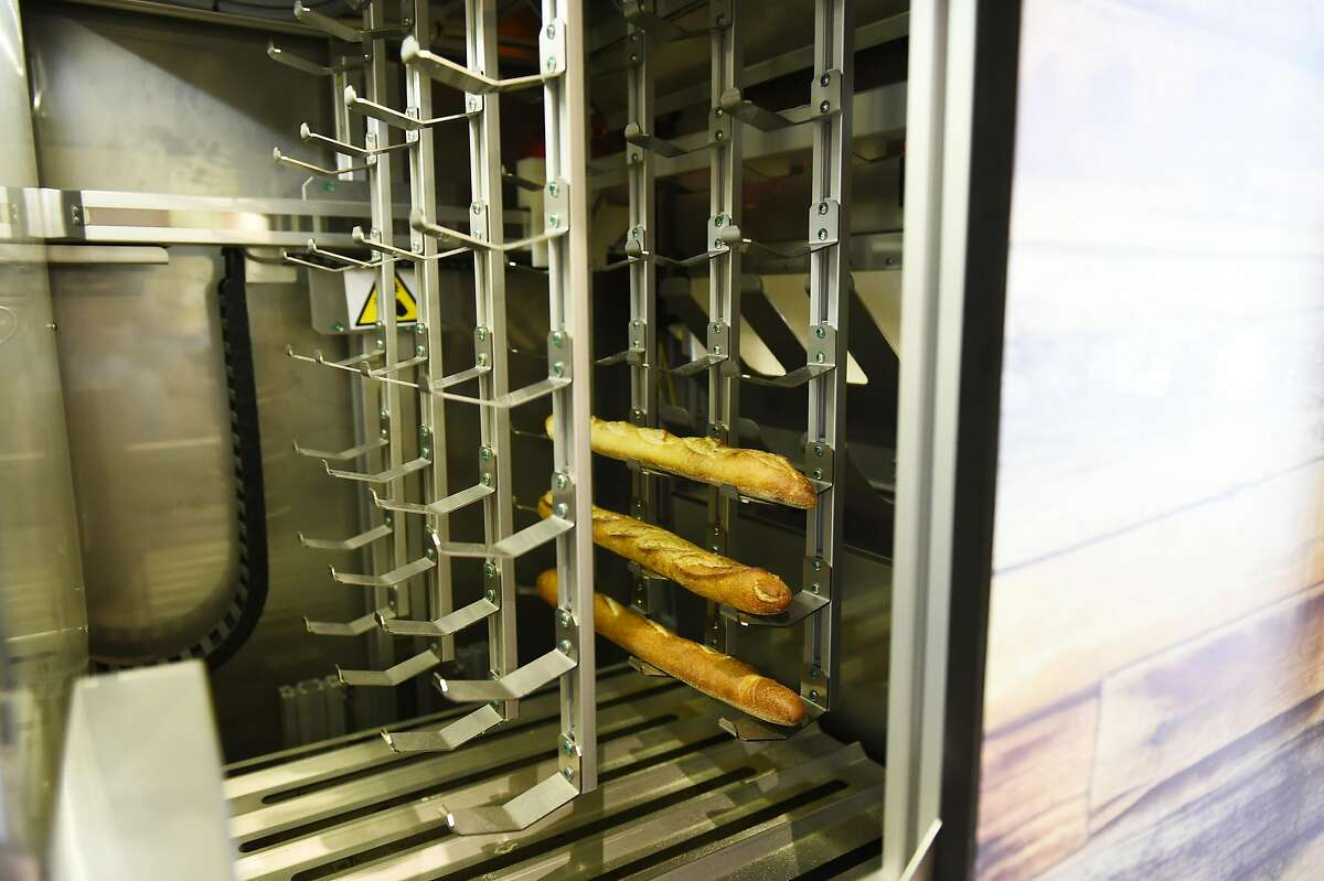 Le Bread Express machine's warming chamber with french bread warming at The Myriad market hall on August 11, 2016 at in San Francisco, California.