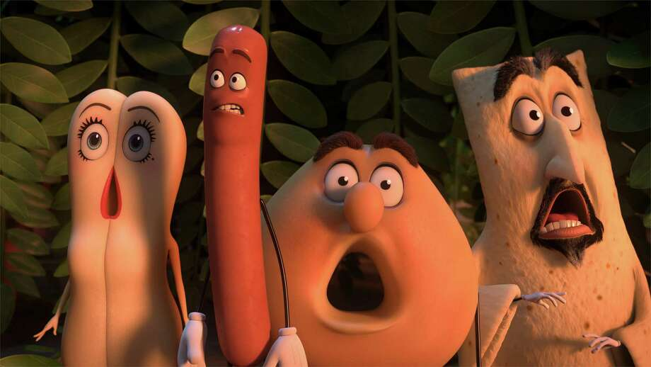 "This image released by Sony Pictures shows, from left, Brenda, voiced by Kristen Wiig, Frank, voiced by Seth Rogen, Sammy, voiced by Ed Norton and Lavash, voiced by David Krumholtz in a scene from, ""Sausage Party."" (Columbia, Sony Pictures via AP) ORG XMIT: NYET151 / © 2016 CTMG, Inc. All Rights Reserved. **ALL IMAGES ARE PROPERTY"
