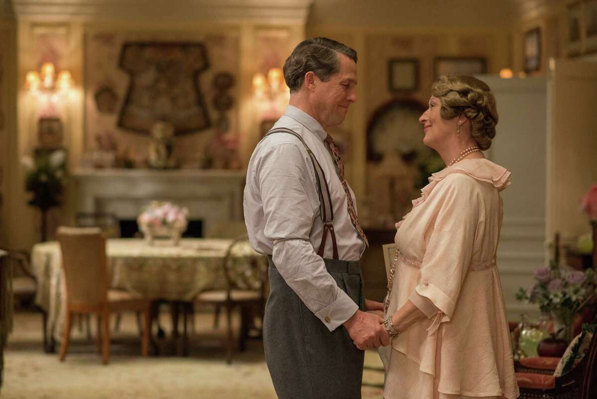 This image released by Paramount Pictures shows Hugh Grant as St Clair Bayfield, left, and Meryl Streep as Florence Foster Jenkins in,