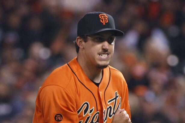San Francisco Giants pitcher Derek Law reacts after the final out of the top of the seventh inning of a baseball game against the Arizona Diamonbacks, Friday, July 8, 2016, in San Francisco. (AP Photo/George Nikitin)