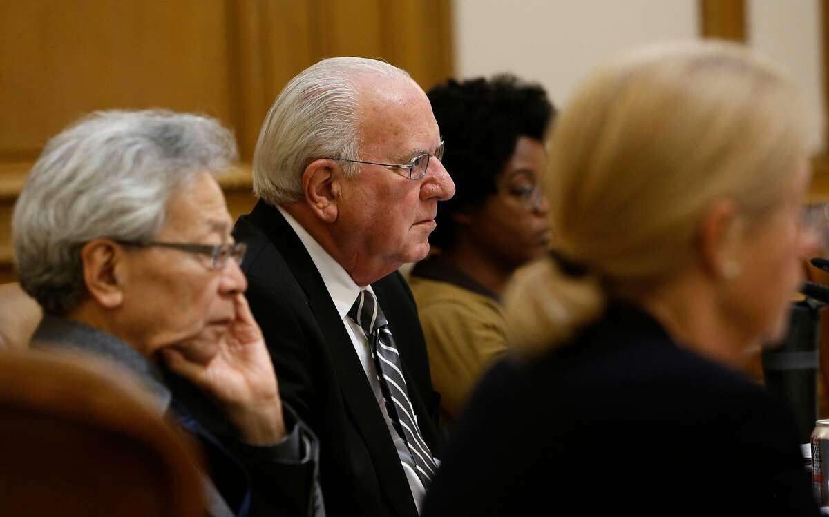 San Francisco planning commissioners (l to r) Hisashi Sugaya, Michael Antonini, Christine Johnson and Kathrin Moore, listen to public comments to Supervisor David Chiu's proposed Airbnb legislation at their weekly meeting in City Hall on Thursday August 7, 2014, in San Francisco, Calif.