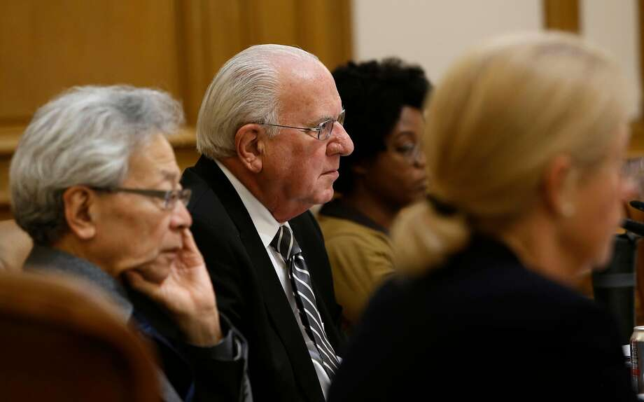 San Francisco planning commissioners (l to r) Hisashi Sugaya, Michael Antonini, Christine Johnson and  Kathrin Moore, listen to public comments to Supervisor David Chiu's proposed Airbnb legislation at their weekly meeting in City Hall on Thursday August 7, 2014, in San Francisco, Calif. Photo: Michael Macor, The Chronicle