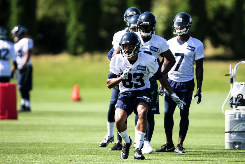 Seahawks wide receiver Montario Hunter starts a drill during training camp at Virginia Mason Athletic Center in Renton on Thursday, Aug. 11, 2016. (Lacey Young, seattlepi.com)