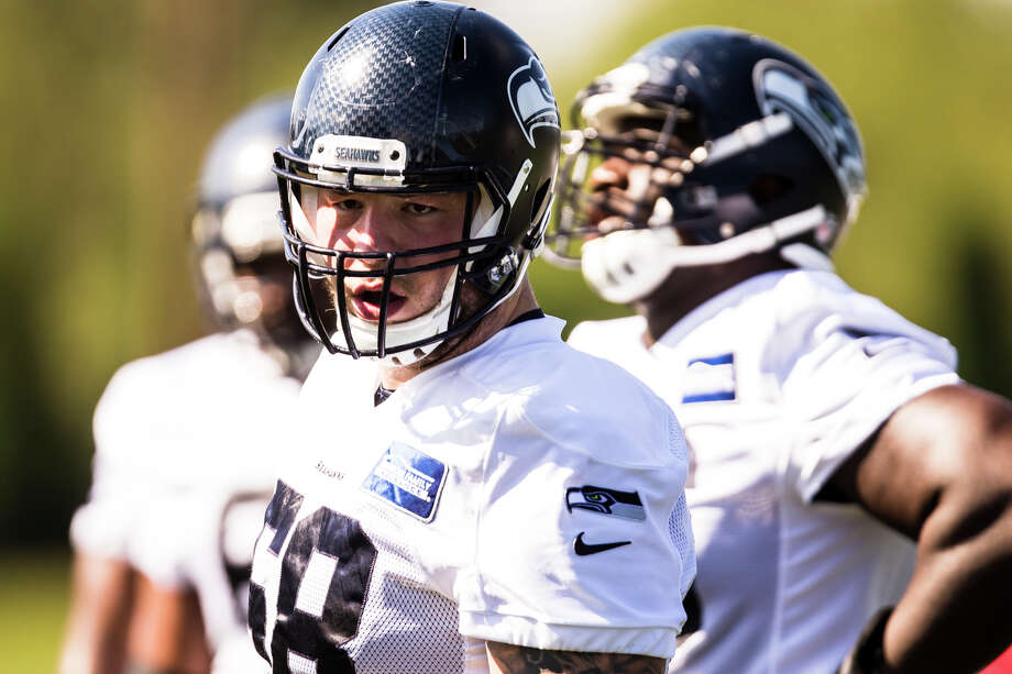 Seahawks center Justin Britt prepares for a drill during training camp at Virginia Mason Athletic Center in Renton on Thursday, Aug. 11, 2016. (Lacey Young, seattlepi.com) Photo: LACEY YOUNG/SEATTLEPI.COM