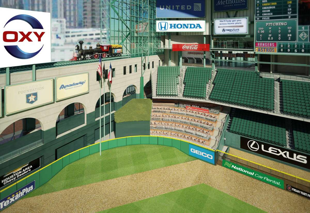 What center field at Minute Maid Park currently looks like with Tal's Hill.